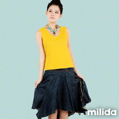 【Milida,全店七折免運】-春夏商品-無袖款-單色V領衣
