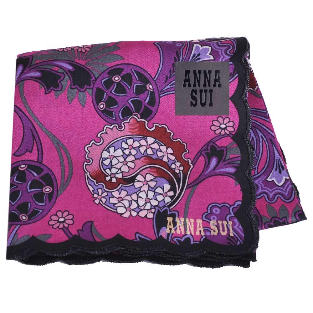 ANNA SUI 魔幻花叢圖騰字母LOGO荷葉邊帕領巾(紫底)