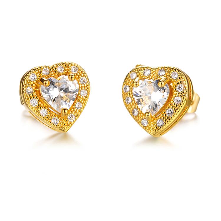最新款時尚精美愛心鑲鑽皓石造型女款鍍18K金耳環耳飾