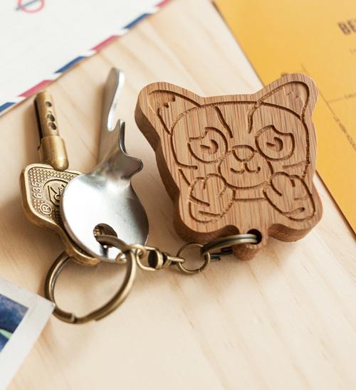 幸福森林.竹製可愛動物鑰匙圈 客製化禮物 石虎小孩