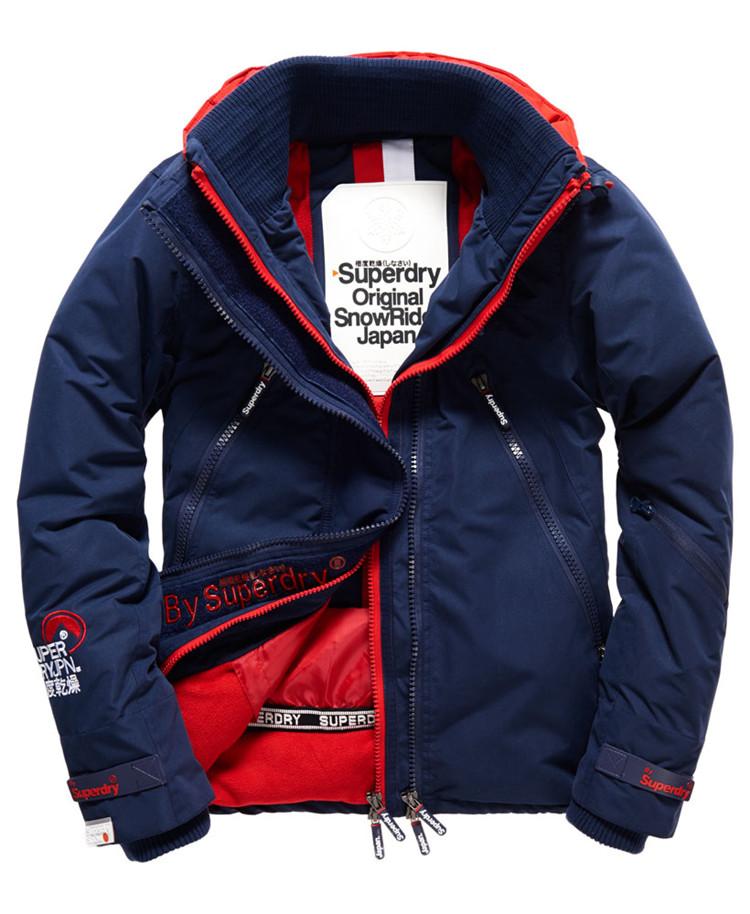 [男款]英國代購 極度乾燥 Superdry Snow Rider 立領 刷毛 防寒防風水滑雪衣系列 風衣雪地騎士 深藍/紅色