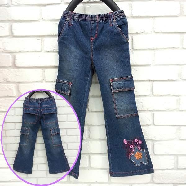 【班比納精品童裝】蝴蝶造型喇叭褲-藍【W3512987】