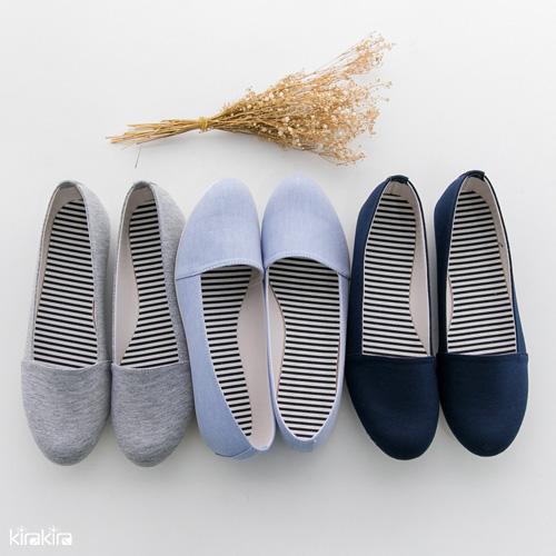 懶人休閒鞋 SALE 優雅質感素面豆豆懶人休閒娃娃鞋