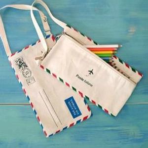 義大利國旗棉麻信封國際郵件筆袋 化妝包 側背包 護照包 小背包  【SV3744】快樂生活網
