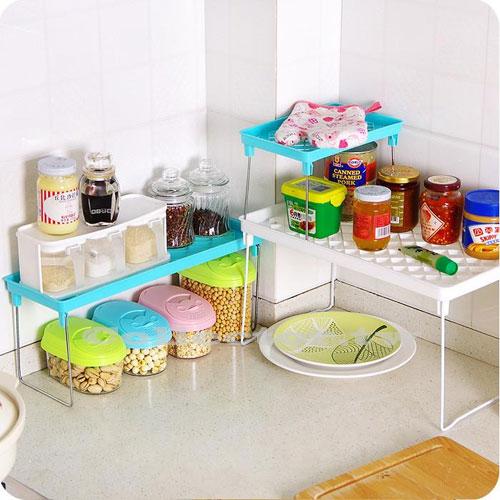 【F16100503】短款-繽紛糖果色多用途可折疊多層組合置物架 桌面整理 浴室衛生 居家生活間雜物收納架