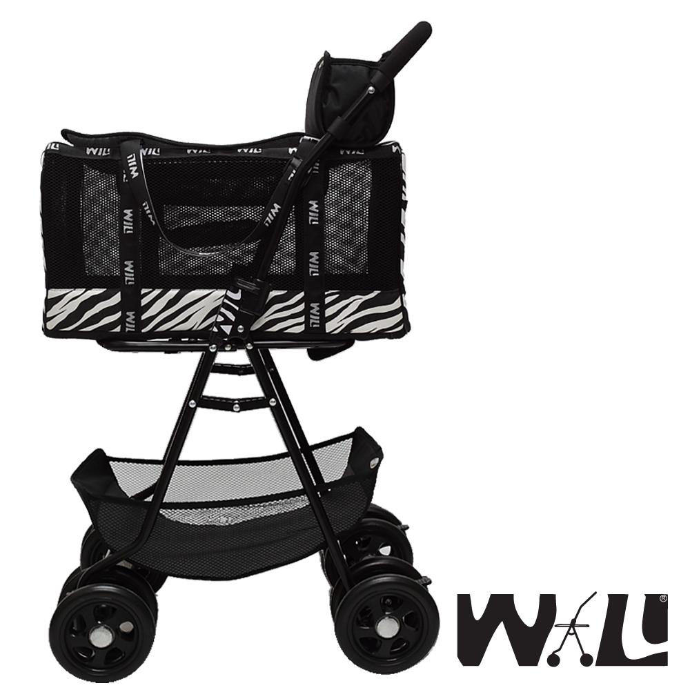 【WILL設計 + 寵物用品】雙層萬搭可拆式推車+WB03極透氣抗夏黑網#斑馬紋