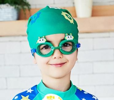 Lemonkid◆可愛機器人卡通造型兒童泳鏡防水護目鏡-綠色