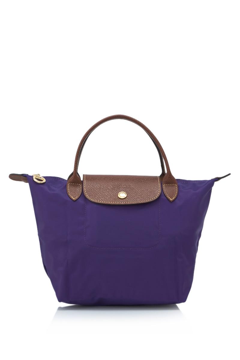 [短柄S號]國外Outlet代購正品 法國巴黎 Longchamp [1621-S號] 短柄 購物袋防水尼龍手提肩背水餃包 水晶紫