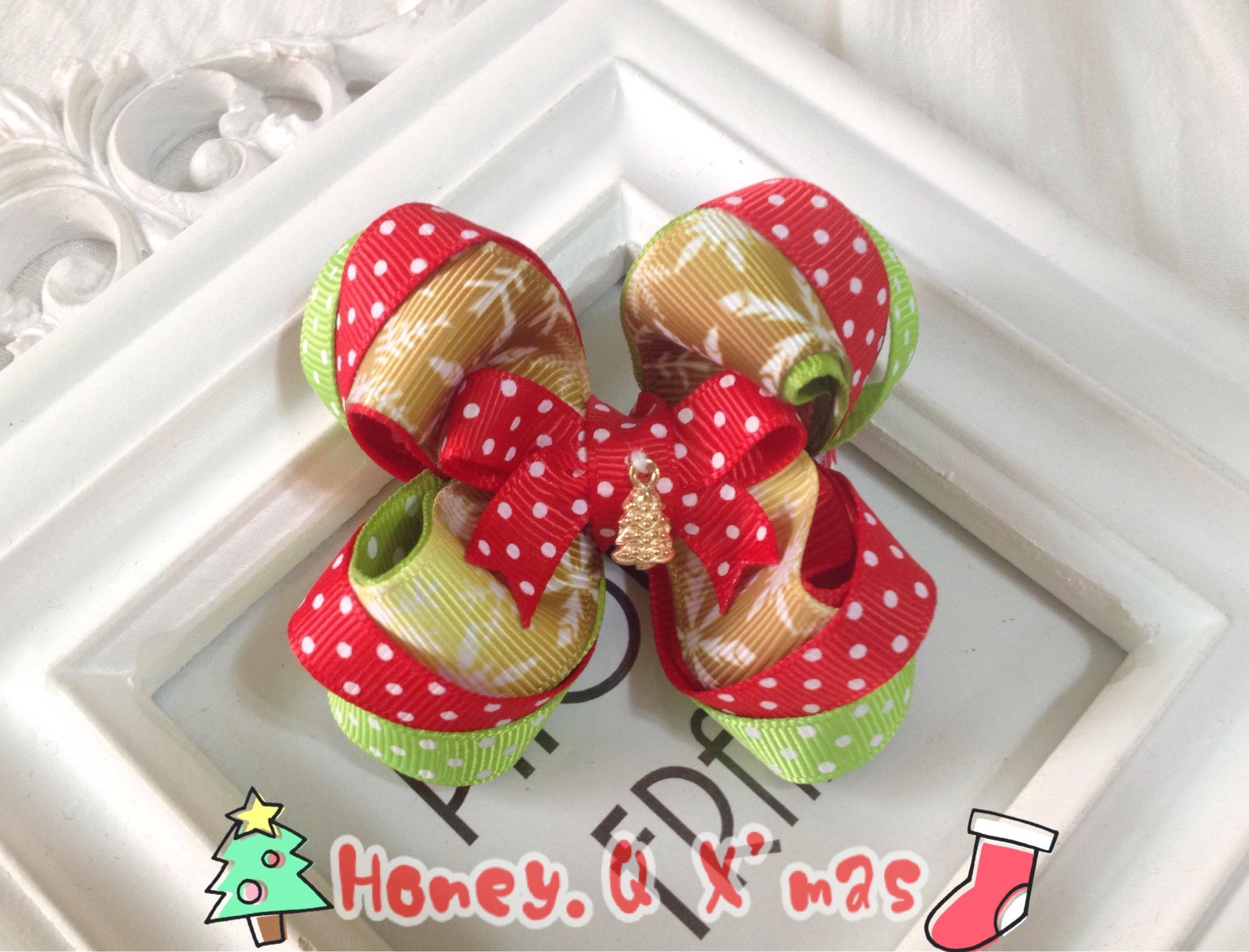 Honey Q-金色聖誕樹幸運雪花蝴蝶結.髮夾 / 髮圈 / 髮箍 / 髮帶**收單至12/15**