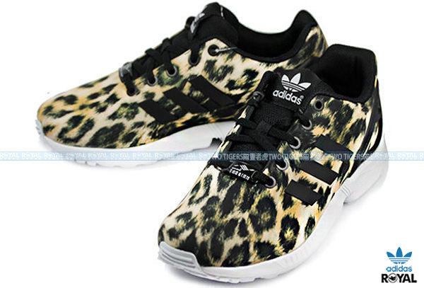 Adidas 新竹皇家 ZX FLUX 黑色 豹紋 防潑水布 休閒運動鞋 NO.Q8856