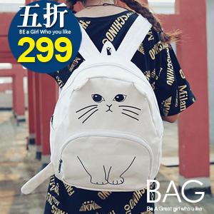B.A.G*現貨秒發*【BT-FM】閨蜜韓版趣味休閒貓咪後背包(現+預)-四色