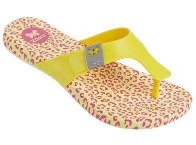 [陽光樂活]Zaxy(童)Intense Kids- 豹紋 夾腳拖鞋-ZA8177090073 鵝黃