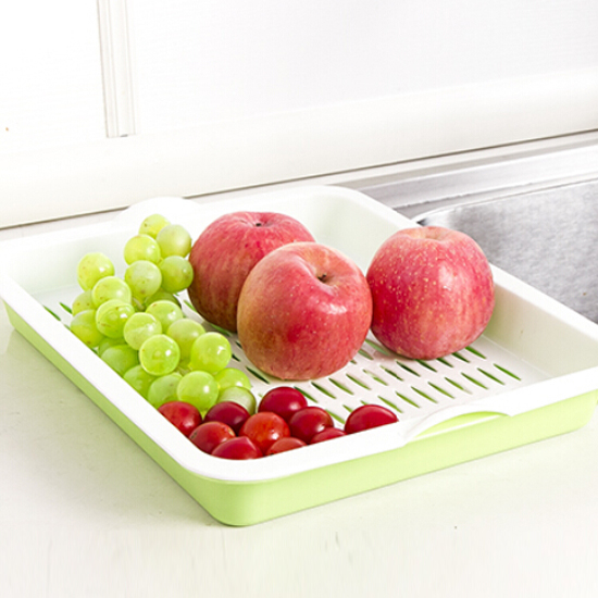 ♚MY COLOR♚長方形雙層瀝水盤 托盤 蔬菜 水果 手提 碗筷 瀝乾 廚房 客廳 泡茶 杯架【H21】