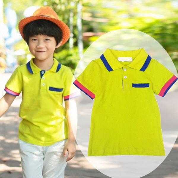 【班比納精品童裝】休閒藍邊領藍紅邊袖POLO衫-青綠【BD150325028】