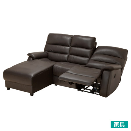 ◎全皮右躺椅L型3人用電動可躺式沙發 BELIEVER R DBR