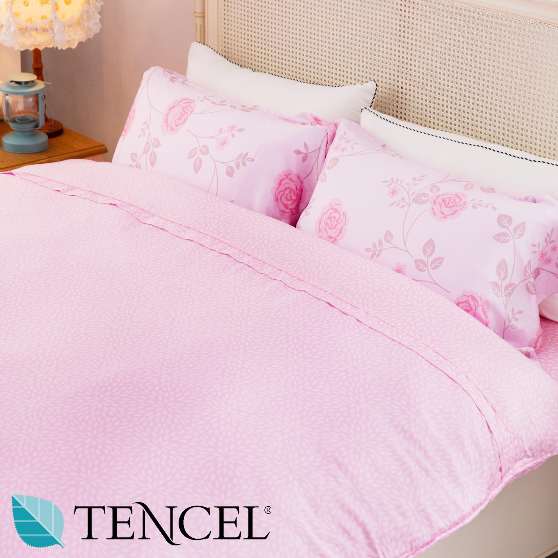 【名流寢飾家居館】玫瑰盎然.100%天絲.超柔觸感.標準雙人床包組兩用鋪棉被套全套