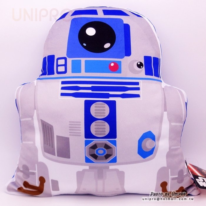【UNIPRO】星際大戰 原力覺醒 R2D2 機器人 造型抱枕 靠墊 扁枕 Star War 迪士尼正版授權