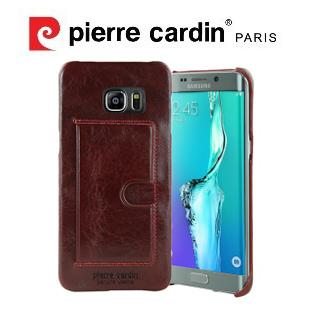 [ Samsung Note5 ] Pierre Cardin法國皮爾卡登高級牛皮經典卡袋真皮手機殼/保護殼/皮套  紅色