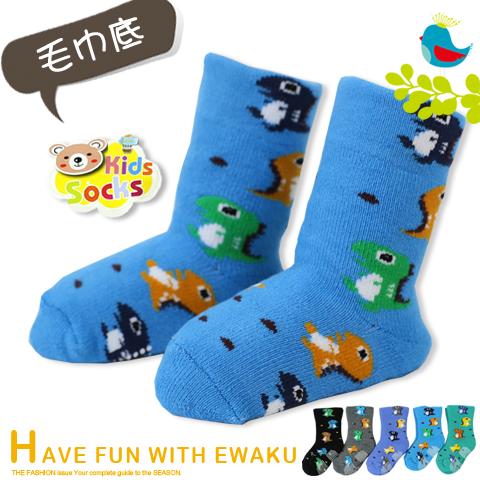 保暖毛巾底 寬口止滑寶寶襪 恐龍款 台灣製 PO-SHIH 亨利達