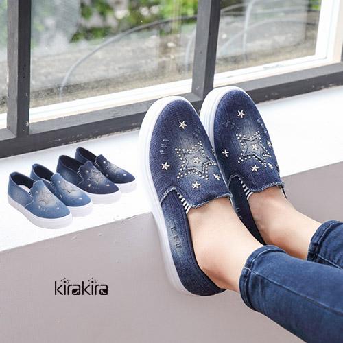 休閒鞋-刷破帆布星星鉚釘厚底懶人鞋