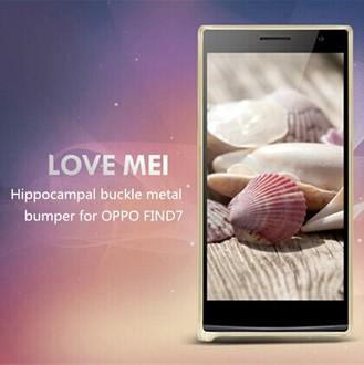 OPPO Find 7保護殼LOVE MEI 金屬免螺絲海馬扣邊框 Find 7手機殼