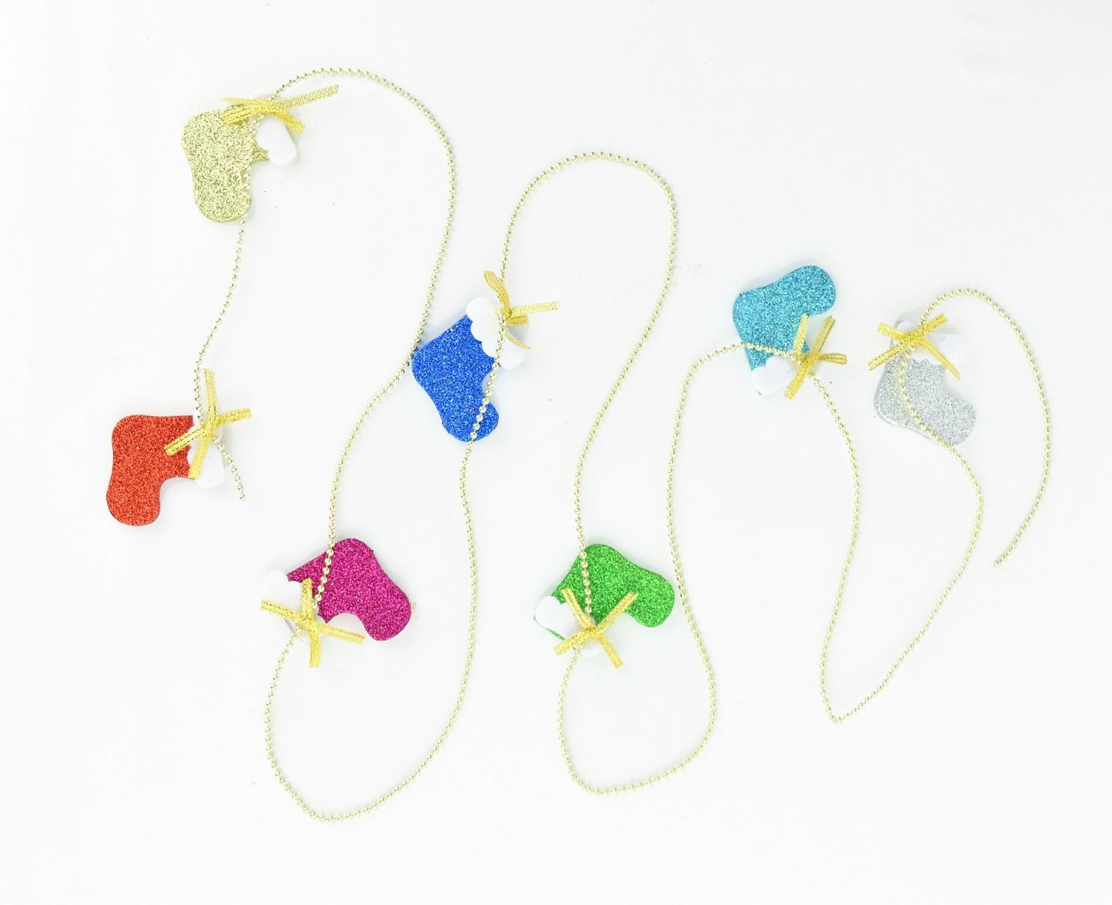 X射線【X299636】金粉彩色聖誕襪鍊珠條,聖誕節/聖誕樹/聖誕佈置/聖誕掛飾/裝飾/掛飾/會場佈置/DIY/材料包