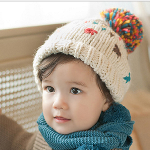 毛帽 兒童針織七彩小毛球毛線帽