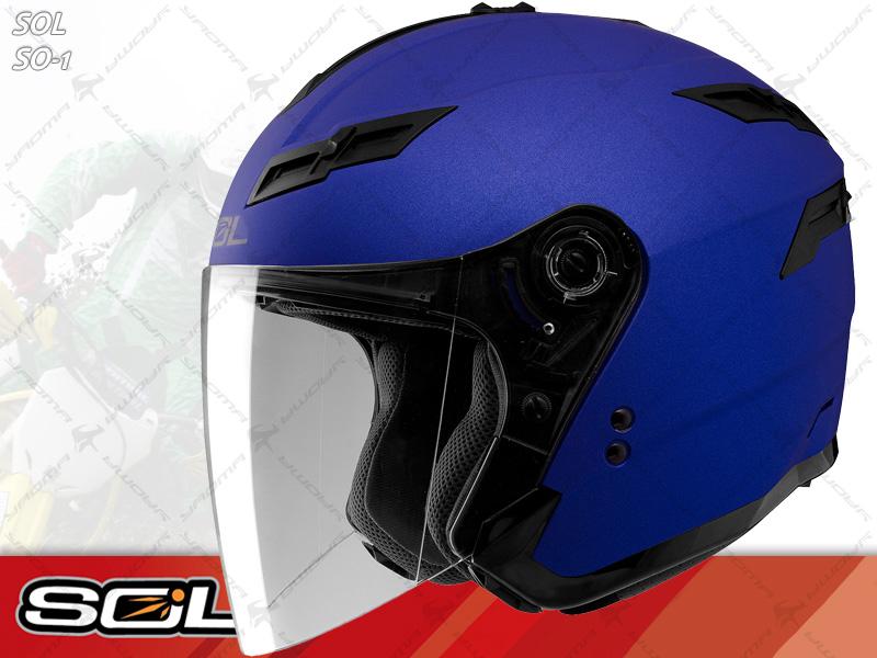 SOL安全帽|SO-1 / SO1 素色 消光藍 【內置墨片.LED燈】 半罩帽 『耀瑪騎士生活機車部品』