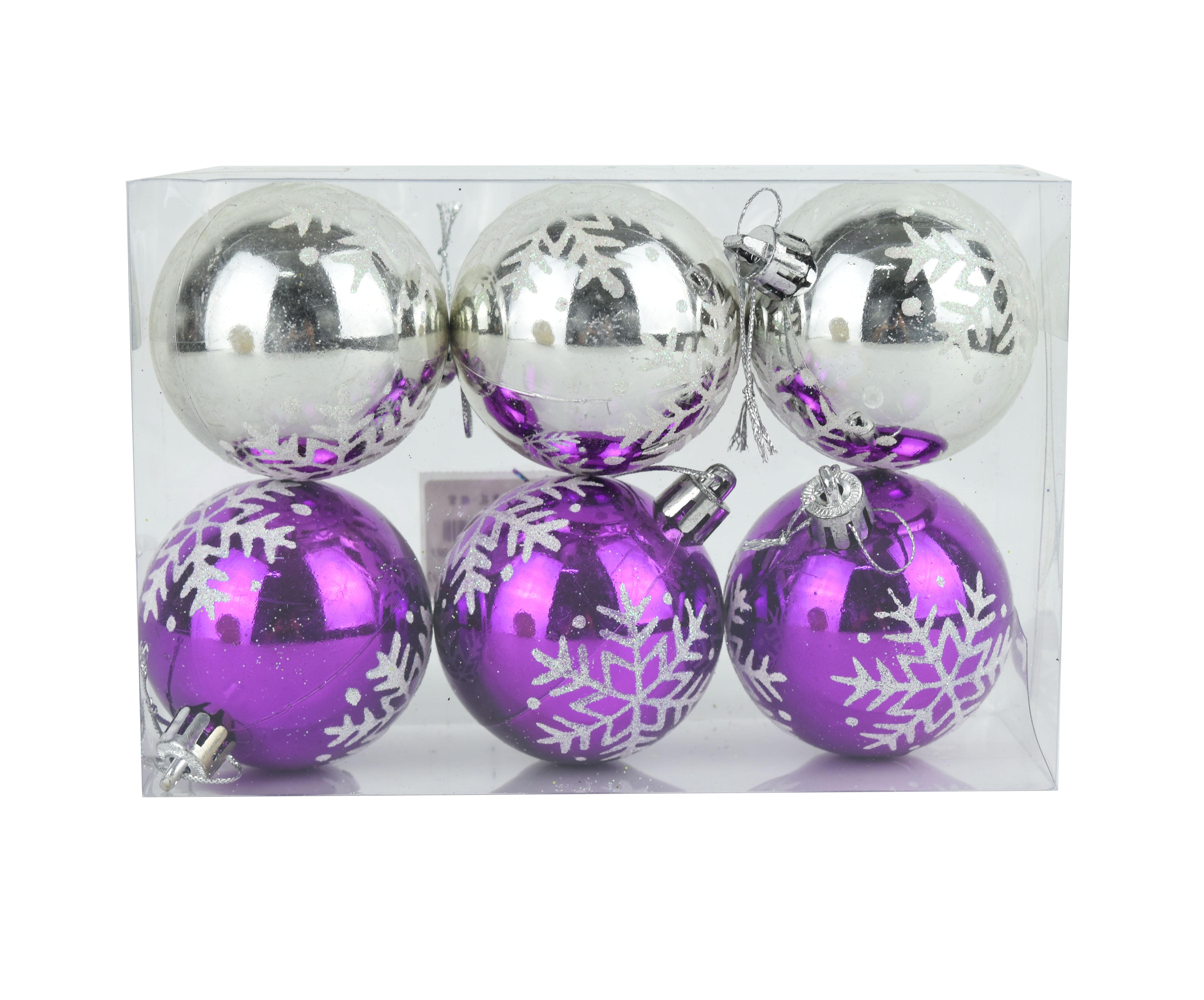 X射線【X299391】6公分手繪雪花鍍金球(銀紫)6入,聖誕節/聖誕佈置/聖誕鍍金球/聖誕球/吊飾/會場佈置/DIY/材料包