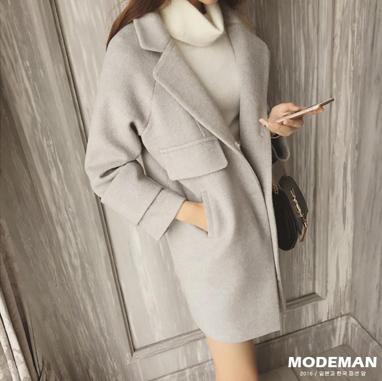 【MODE MAN】韓版修身翻領毛呢百搭長版長袖大衣 兩色『現貨+預購』
