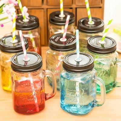 果汁飲料玻璃杯500ml-創意漸變透明雙杯蓋情侶款12色73pp78【獨家進口】【米蘭精品】