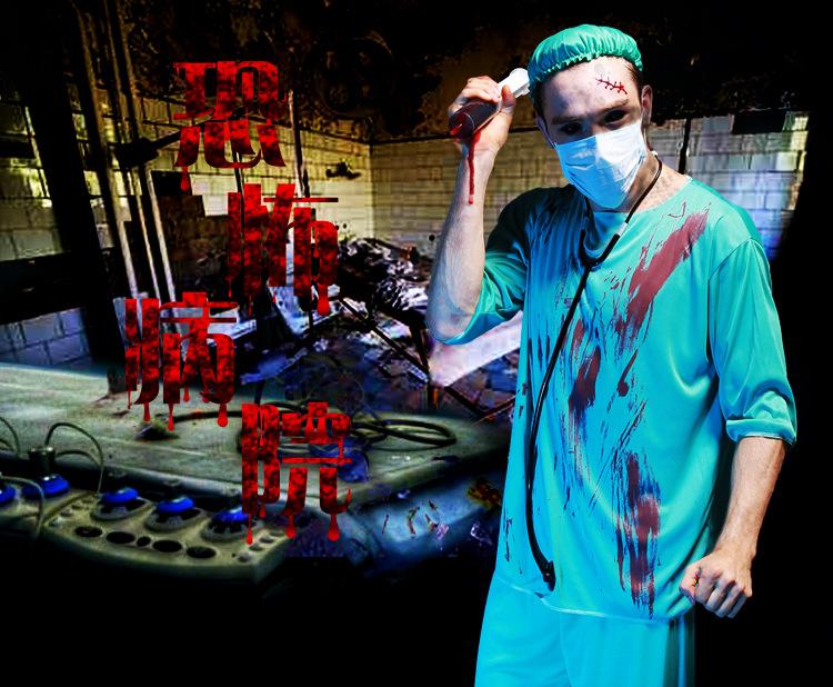 歐美萬聖節化妝舞會藍制服帶血恐怖男醫生護士連身服halloween