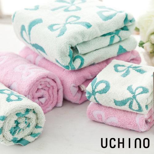 UCHINO 蝴蝶結方巾 毛巾 雙面圖案 無撚紗 100%純棉 柔軟 吸水毛巾 日本內野