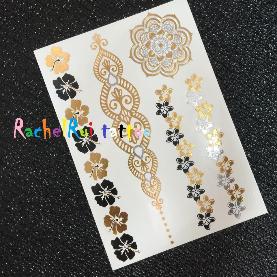 ★RachelRui★金屬紋身貼紙,扶桑花印度圖騰