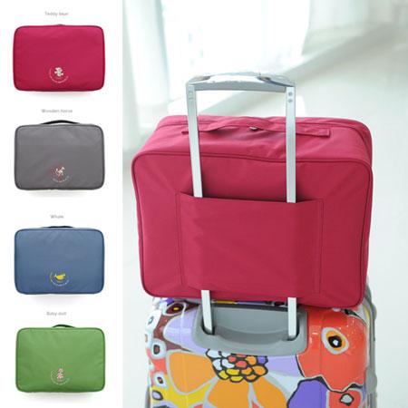 韓版 大容量拉桿旅行包 收納袋 旅行包 旅行袋 行李箱 擴充包 旅遊 旅行 出國【B062330】