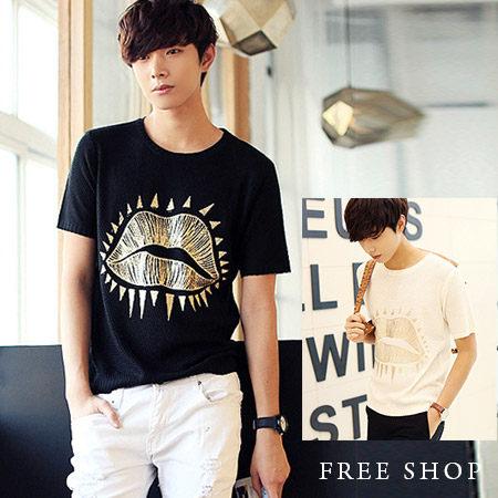 Free Shop【QTJT03】日韓風格素色脣形塗鴉燙金印刷針織圓領短袖上衣‧二色