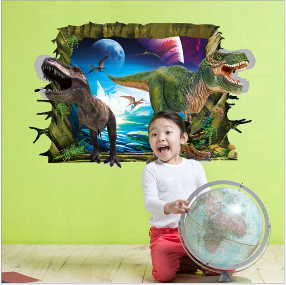WallFree窩自在★DIY無痕創意牆貼/壁貼-3D恐龍來了_AY9265