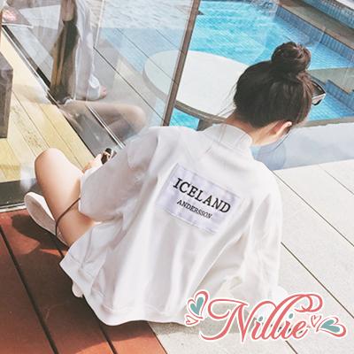Nillie‧標籤拼接棒球休閒外套03/01(黑/白)【N87153】現+預