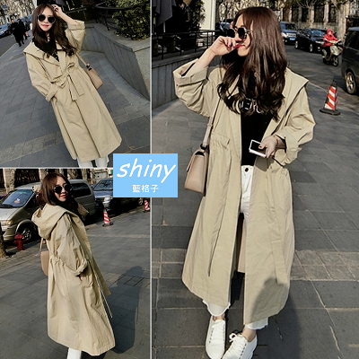 【V1207】shiny藍格子-秋心演繹.時尚純色寬鬆顯瘦收腰連帽風衣外套
