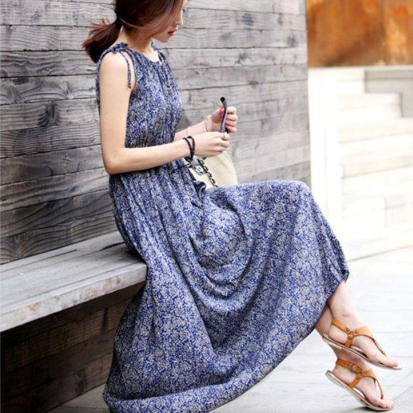 *漂亮小媽咪*唯美女神 無袖 碎花 雪紡 長裙 波西米亞 長洋裝 孕婦連衣裙 洋裝 YB5012