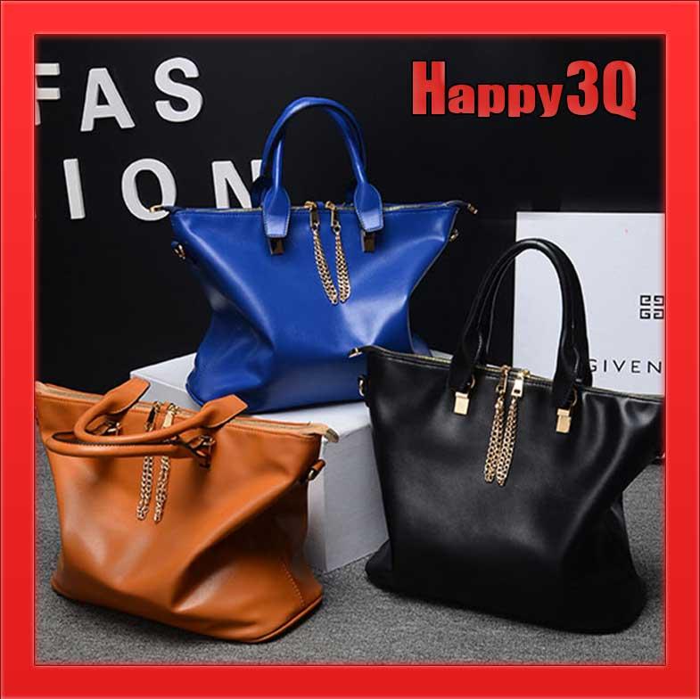 簡約時尚好裝好帶大容量真皮斜背包手提包休閒包-黑/米/藍/棕【AAA0983】