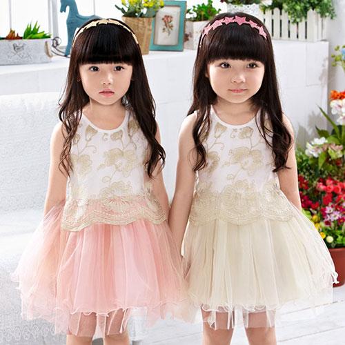【錢豪童裝童鞋】金編織花禮服洋裝(85~120cm)