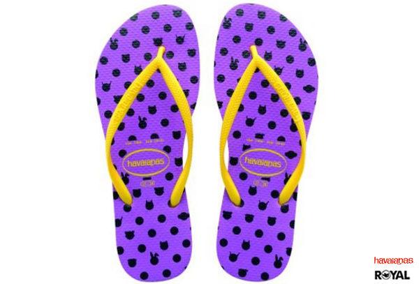 Havaianas 哈瓦士 新竹皇家 Slim Fresh 紫/黃 黑點兔圖 細帶 珠光 夾腳拖鞋 女款 NO.H1354