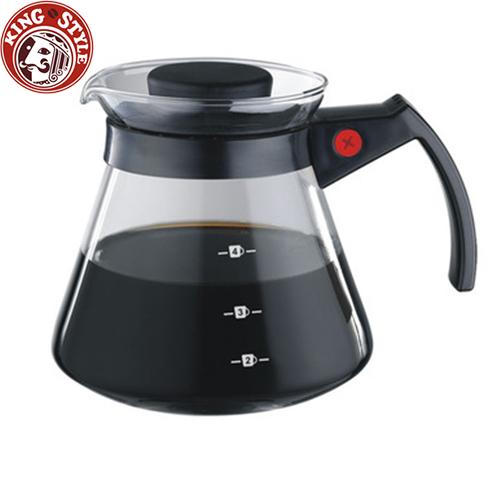 金時代書香咖啡 Tiamo 玻璃咖啡壺 450cc 黑色 弧型把手