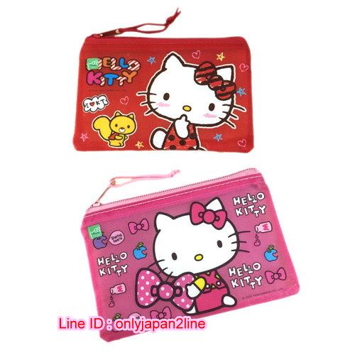 【真愛日本】16111100014磨砂網格袋(小)-KT2款   KITTY 凱蒂貓 三麗鷗  收納袋 生活雜貨
