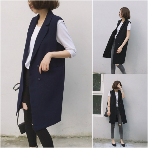 Missyoyo  韓版雙排釦無袖長款西裝背心外套【F138012】-預購