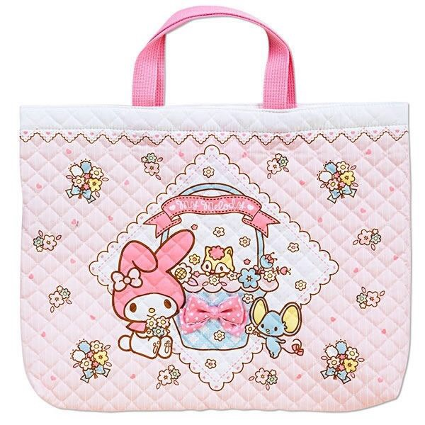 【UNIPRO】日貨 My Melody 美樂蒂 MM 布面 菱格 縫紉 雙提帶設計 手提包 手提袋 購物袋  三麗鷗正版授權 日本製