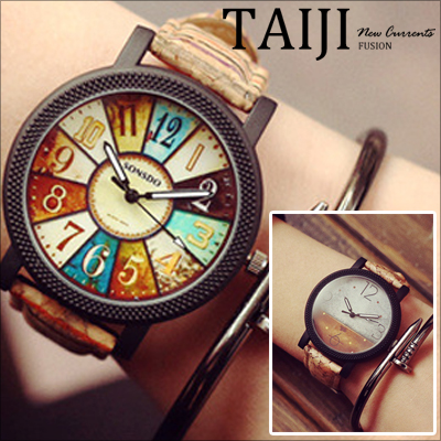 復古腕錶NXD015】日韓風格‧復古羅盤圖案潮流腕錶‧