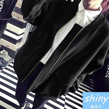 【V0314】shiny藍格子-簡秋無印.純色寬鬆圓領棒球服薄刷毛外套