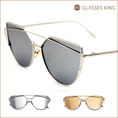 眼鏡王☆時尚潮流正妹型男造型金屬帥氣太陽眼鏡墨鏡反光水銀香檳金白S268